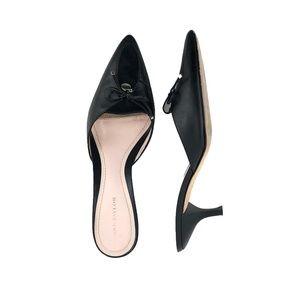 Ann Taylor Black Slip-on Pointed Kitten Heel | 5.5